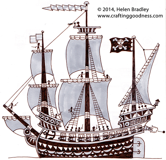 blue ship1 A Tip o the Nib to Ed Emberley